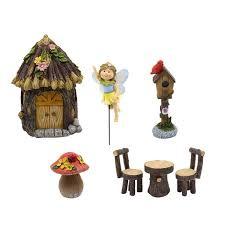 resin fl fairy garden house set