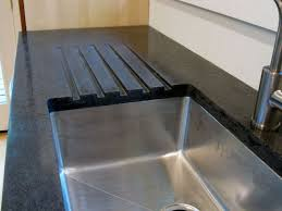 black concrete countertop with recycled