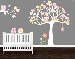 Owl Tree Wall Decal Girl S Room Wall Decals Owls Baby Etsy