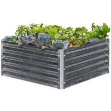 silver square raised garden beds