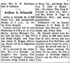 Arthur A Schmidt Obituary The Anniston Star 3 May 1965 Page 7 -  Newspapers.com