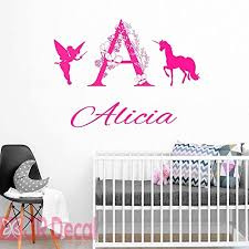 Amazon Com Unicorn Name Personalised Wall Stickers Fairy Wall Stickers Vinyl Wall Decal For Girls Room Personalised Baby Girls Nursery Sticker Unicorn Wall Sticker For Girls Handmade