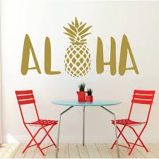 Aloha Wall Decal Sticker With Hawaiian Pineapple Design Pineapple Decor Vinyl Art Decoration Customvinyldecor Com