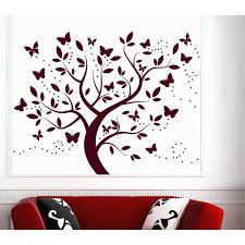 Shop Wall Decal Tree Silhouette With Branches Butterfly Art Wall Decals For Kids Decor Red Overstock 11179321