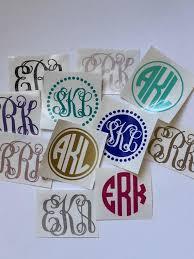 Vinyl Monogram Decal Sticker Glitter Monogram Tumbler Decal Etsy