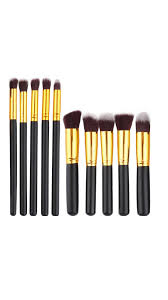 makeup brush set black 10 pcs