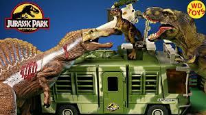 New Jurassic Park Electronic Mobile Command Center Trailer Playset Vs Spinosaurus Dinosaur Toys Youtube