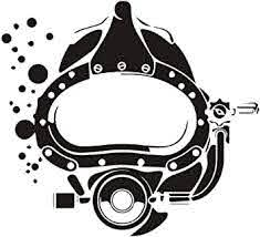 Amazon Com Scuba Diving Vinyl Decal Car Sticker With Kirby Morgan Superlite Commercial Diving Helmet 6 54 X 5 94 Black Arts Crafts Sewing