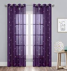 Amazon Com Gold Dandelion Star Curtains Foil Print Silver Stars Grommet Twinkle Star Kids Bedroom Drapes For Nursery Room Cosmic Theme For Living Room And Space Loving Grown Ups 2 Panels W52 X L84 Inch Purple