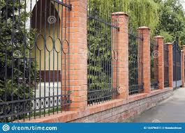 Brick And Metal Fence With Door And Gate Of Modern Style Design Metal Fence Ideas Stock Image Image Of Concrete Entrance 134796511