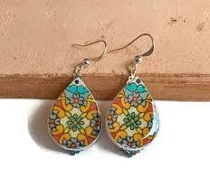 teardrop earrings talavera tiles