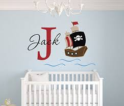 Personalized Pirate Name Wall Decal Pirate Boy Room Decor Nursery Wall Decals Pirate Vi In 2020 Boys Room Decor Nursery Wall Decals Boy Room
