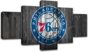 Amazon Com Miauen Philadelphia 76ers Wall Art Posters Pictures Home Decor Canvas Prints 5 Piece Basketball Sports Decoration Paintings Ready To Hang 60 Wx32 H Home Kitchen