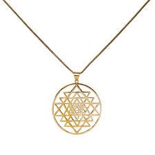 brass circular sri yantra pendant