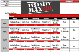 insanity max 30 workout calendar your