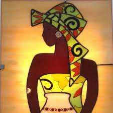 stained glass panel black women hanging