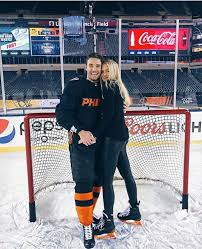 Ivan Provorov and his girlfriend Madison Leigh at the Linc before ...