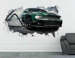 Mustang Shelby Wall Decal Sport Car 3d Smashed Decor Art Etsy Wall Stickers Cars Sports Wall Decals Wall Decor Decals