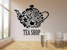 Vinyl Wall Decal Tea Shop Teapot Floral Patterns Kitchen Decor Stickers G2959 Ebay