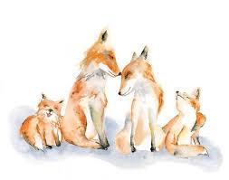 fox family of 4 watercolor art print