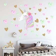 Amazon Com Unicorn Wall Decals Unicorn Wall Sticker Decor With Heart Flower Birthday Christmas Gifts For Boys Girls Kids Bedroom Decor Nursery Room Home Decor A Unicorn Baby
