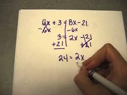 8th grade solving a math equation