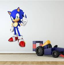 Amazon Com Sonic 1 Wall Decal Cartoon Sega Hedgehog Sticker Graphic Kids Room Man Cave Garage Den Art Decor 36 Home Kitchen