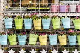 Fence Panel Flower Pots Hanging Flower Pots With Fence Stock Photo C Firefox 78695318