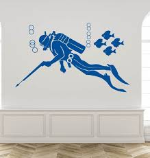 Scuba Diver Wall Decal Sea Life Wall Decal Ocean Scuba Etsy