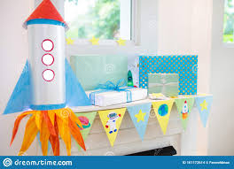 Space Theme Kids Birthday Party Room Decoration Stock Photo Image Of Caucasian Festive 161172614