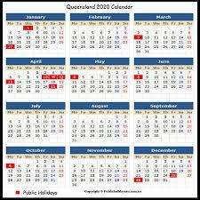 Free 2020 QLD Public holidays