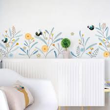 Cute Little Birds Garden Flowers Home Decor Leaf Wall Decal Floral Plants Art Mural Vinyl Wall Sticker Living Room Study Baby Girls Room Thefuns On Artfire