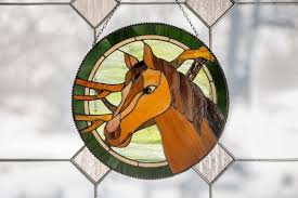 stained glass window hanging horse