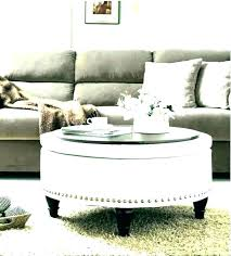 large fabric ottoman natural with tray