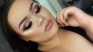 rose glitter prom eye makeup tutorial