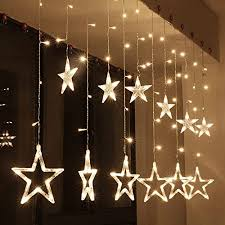 Amazon Com Zology Star Curtain String Light 138 Led Fairy Strip Rope Lamp Window Light For Bedroom Kids Room Wedding Party Hallowen Birthday Tree Supplies Warm White Garden Outdoor