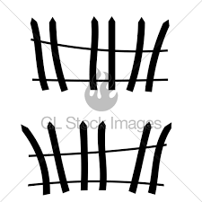 Wooden Crooked Fence Silhouette For Halloween Gl Stock Images
