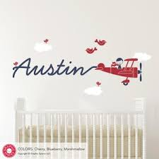 Airplane Name Wall Decal Boy Skywriter For Baby Nursery Kids Etsy