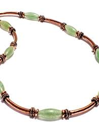 copper necklace with green stones