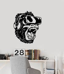 Vinyl Wall Decal Monkey In Headphones Virtual Reality Stickers 3428ig Wallstickers4you