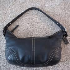 vintage black leather medium hobo purse
