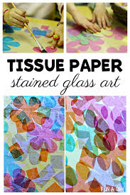 tissue paper stained glass art for spring