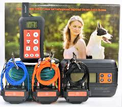 Three Dog Set Remote Dog Training Shock Collar Underground In Ground Electronic Dog Containment Fence System Combo For Small Medium Large Dogs Walmart Com Walmart Com