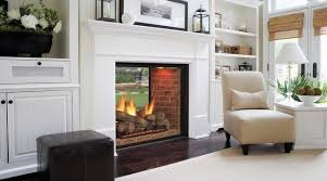 space with a double sided fireplace
