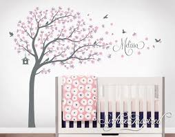 Wall Decal Kids Nursery Name Custom Tree Wall Decals Personalized Names And Birds Cherry Blossom Tree Wall Decals Decor Wall Art Sticker In 2020 Nursery Wall Decals Tree Nursery Wall Decals