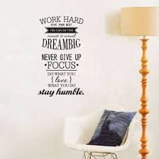Amazon Com Ducklingup Wall Decal Quote Work Hard Dream Big Never Give Up Stay Humble Decal Teamwork Vinyl Stickers Home Bedroom Motivation Quote Wall Sticker Home Kitchen