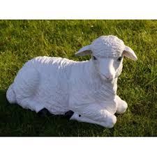 sheep lamb laying down garden ornament