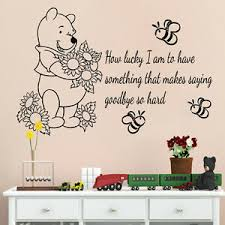 Wall Decals Kids Winnie The Pooh Vinyl Decal Quote How Lucky I Am Nursery Decor Ebay