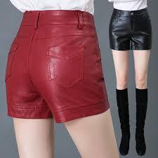 high waist leather shorts women autumn