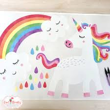 Unicorn With Smiling Rainbow Fabric Wall Stickers Scene Small Scene Owl Brolly